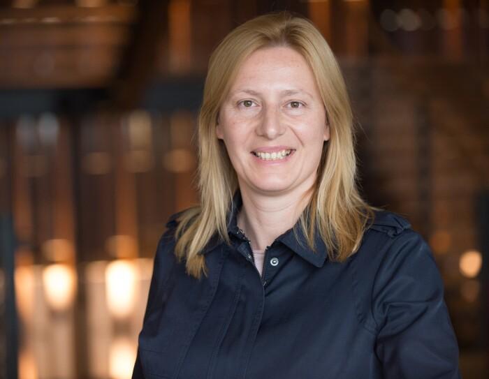 Katya Karklisiyska, fulfilment centre employee at Amazon in Dunstable, pictured in the Amazon office in Seattle