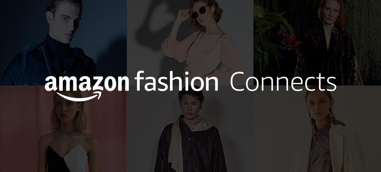 El texto de la foto en blanco es el siguiente: Amazon Fashion Connects. Detrás y con una cortina negra hay seis fotos de modelos posando. En cada foto hay un modelo. En total son dos modelos hombres y cuatro modelos mujeres.