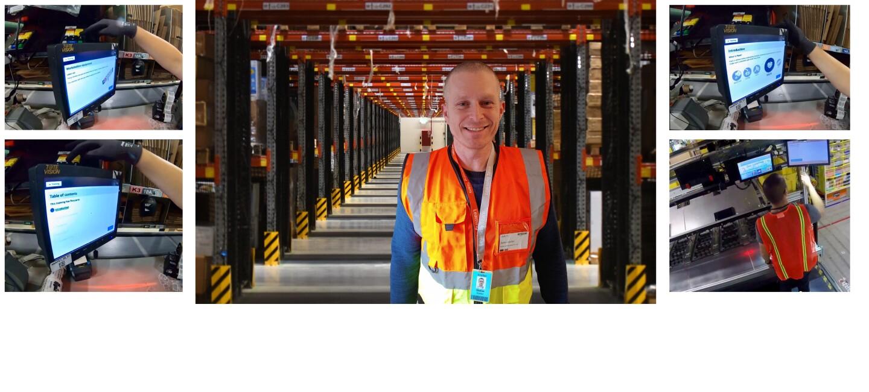 Collage: Stefan Hölter mit Sicherheitsweste im Logistikzentrum (Mitte) + Screenshots von Bildschirmen mit den In App Trainings