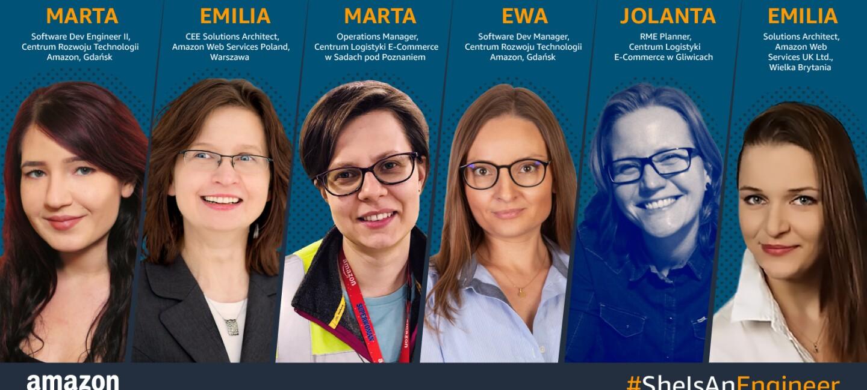 Kolaż kobiet pracujących w Amazon