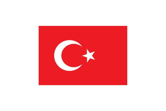 Turkish flag on white background