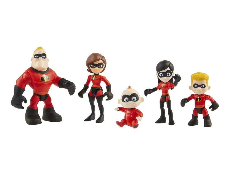 Set of poseable figures from The Incredibles 2 movie, including Elastigirl, Mr. Incredible, Violet, Dash, and Jack-Jack.