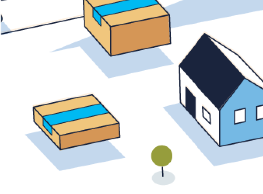 An section of the Shipment Zero illustration that features a house, two Amazon packages and a solitary tree.