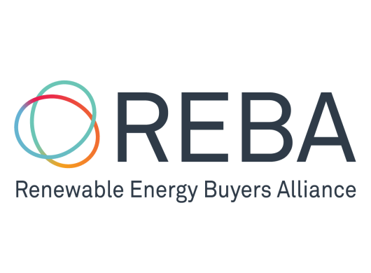Logo of REBA: Renewable Energy Buyers Alliance, an Amazon Sustainability partner