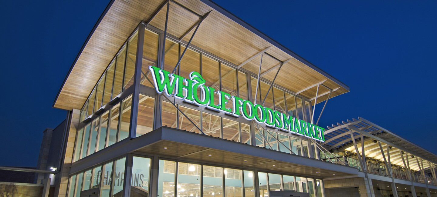 An image of the outside of a Whole Foods Market store
