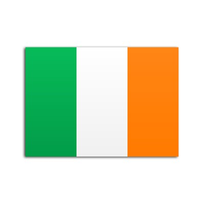 Flat flag of Ireland on white background