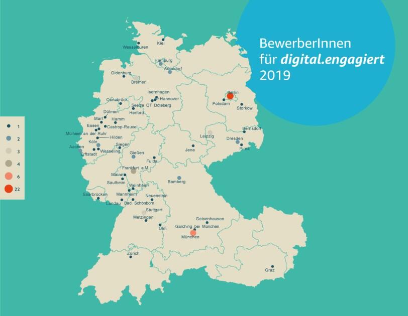 Die Teilnehmer von digital.engagiet kommen aus Deutschland, Österreich und der Schweiz. Die Karte zeigt aus welchen Teilen der Länder sie stammen. Die meisten kommen aus Berlin und München.