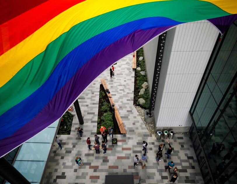 LGBTQ pride flag flies over Amazon's Seattle HQ