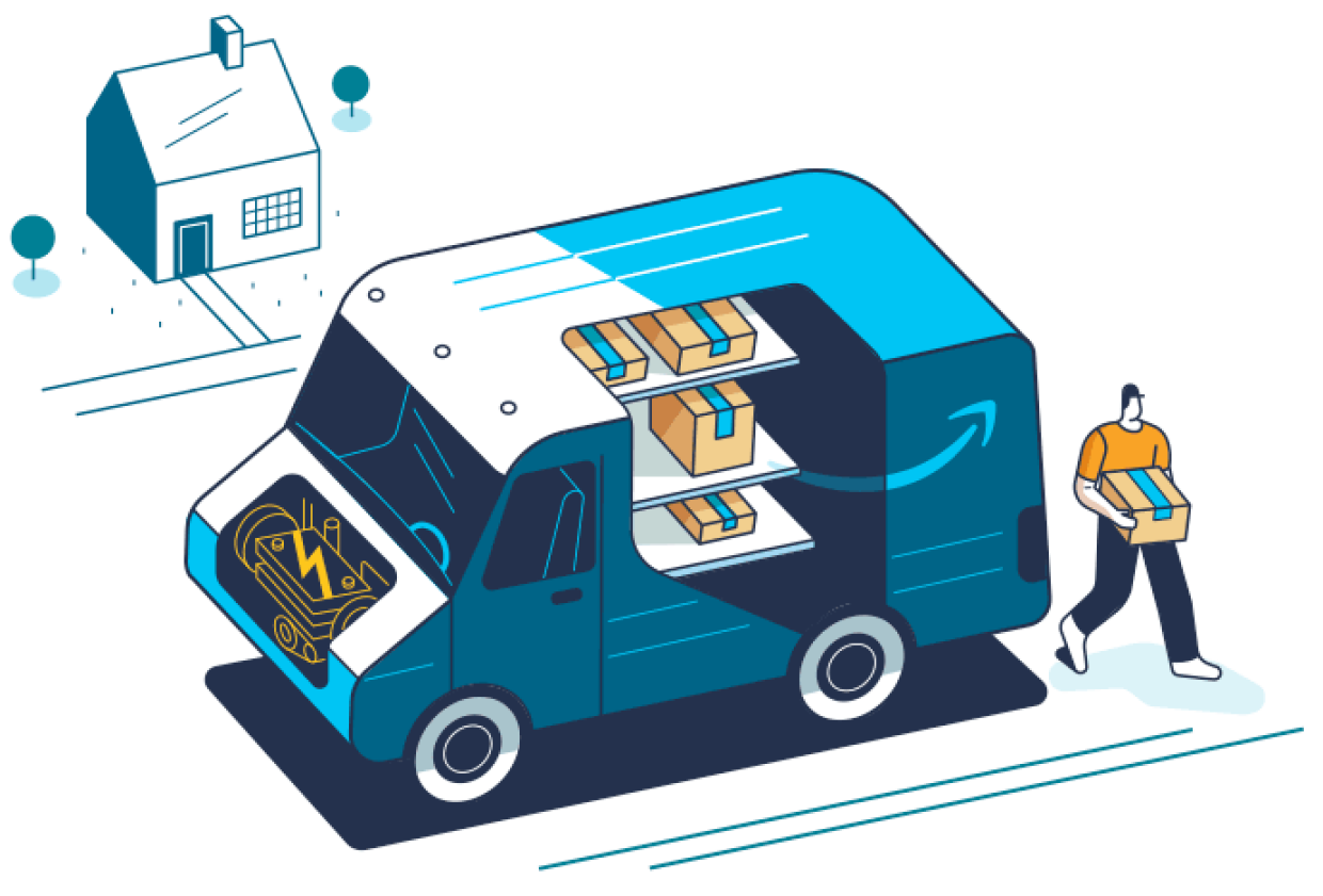 An illustration of a driver, and Amazon electric delivery truck outside a customer's home