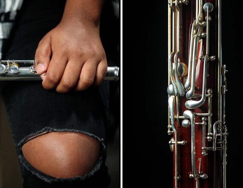 Side-by-side images of close-ups of musical instruments. On the left, a flautist holds her instrument. On the right, a bassoon.