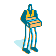 "An illustration of a man wearing an orange vest and holding an Amazon package representing ""Employees and communities"""