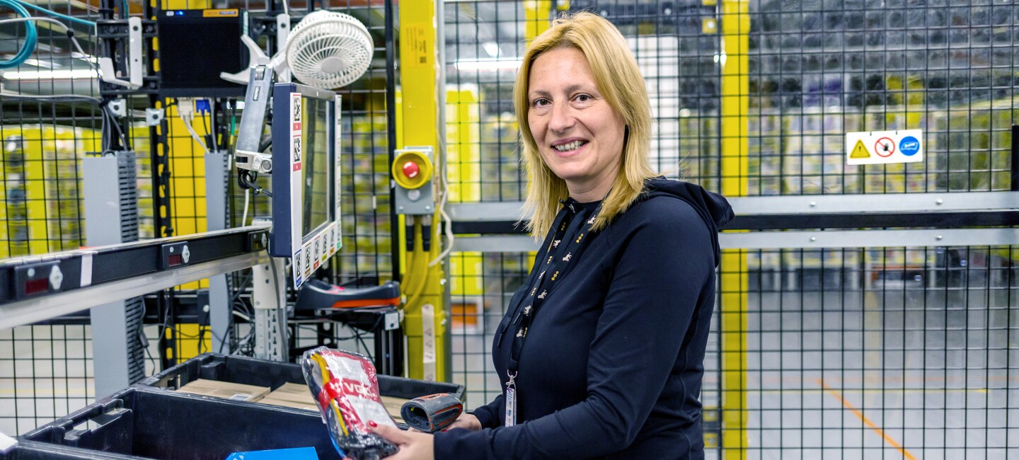 Katya Karklisiyska, fulfilment centre employee at Amazon in Dunstable, pictured at work