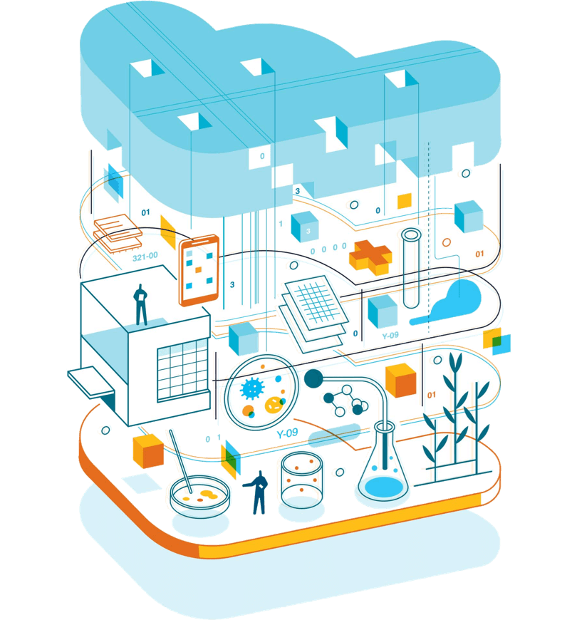 An illustration representing Amazon technology that features petri dishes, test tubes, beakers and other scientific instruments