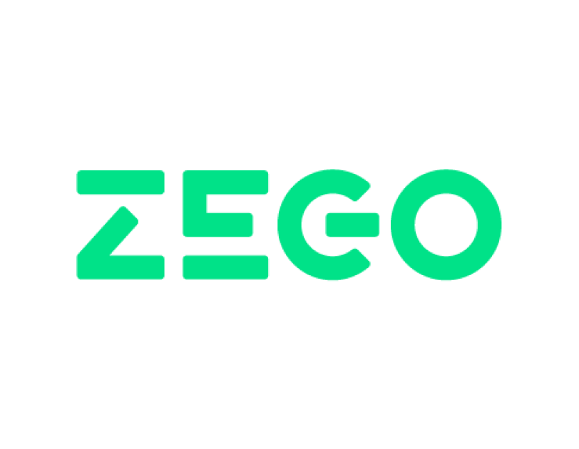 Zego company logo in green and white