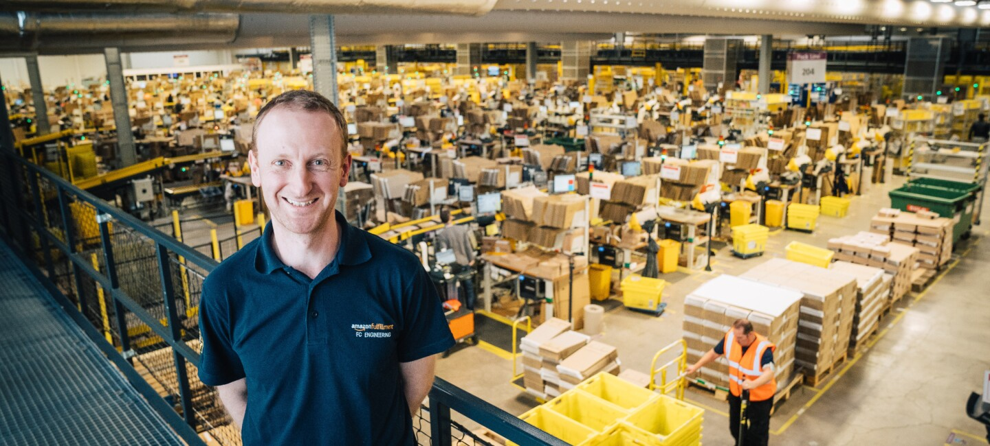 Amazon apprentice Tomas Bohacs in a Fulfilment Centre