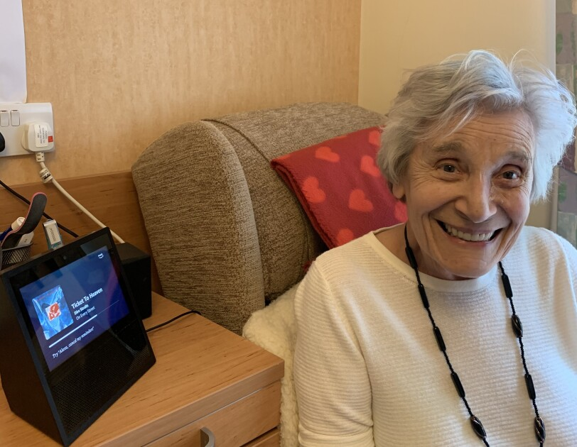 Ruth, one of the residents of Hampton Care home, near her Echo Show device