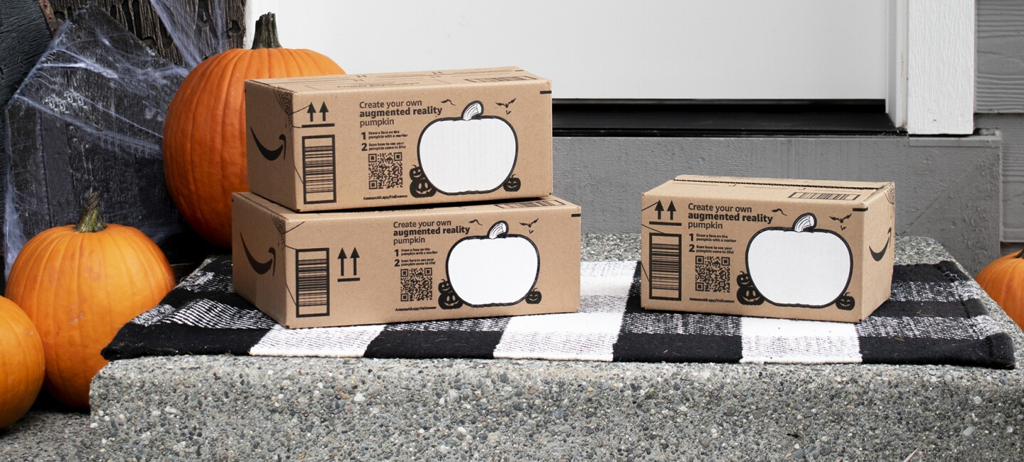 Amazon's augmented reality boxes inclde a pumpkin that customers can decorate and view in augmented reality.