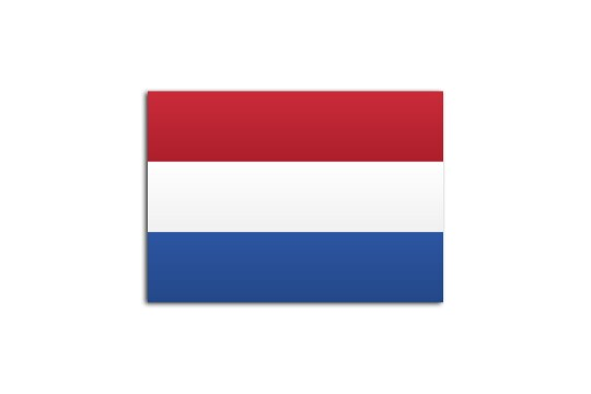 Flat flag of Netherlands on white background