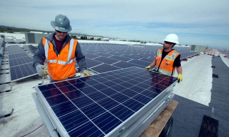 Solar panel installation at Amazon