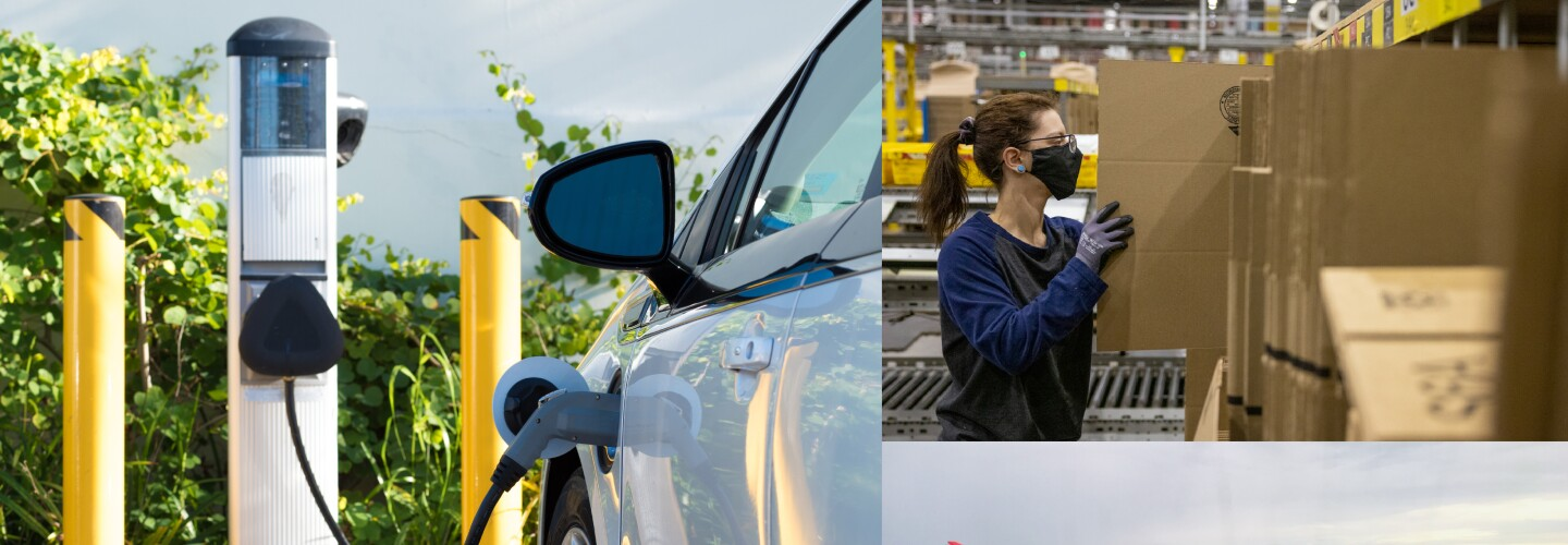 collage of three pictures, showing an electric car charging the battery, a view from an airplane window, and an Amazon employee arranging packages in a fulfillment center.