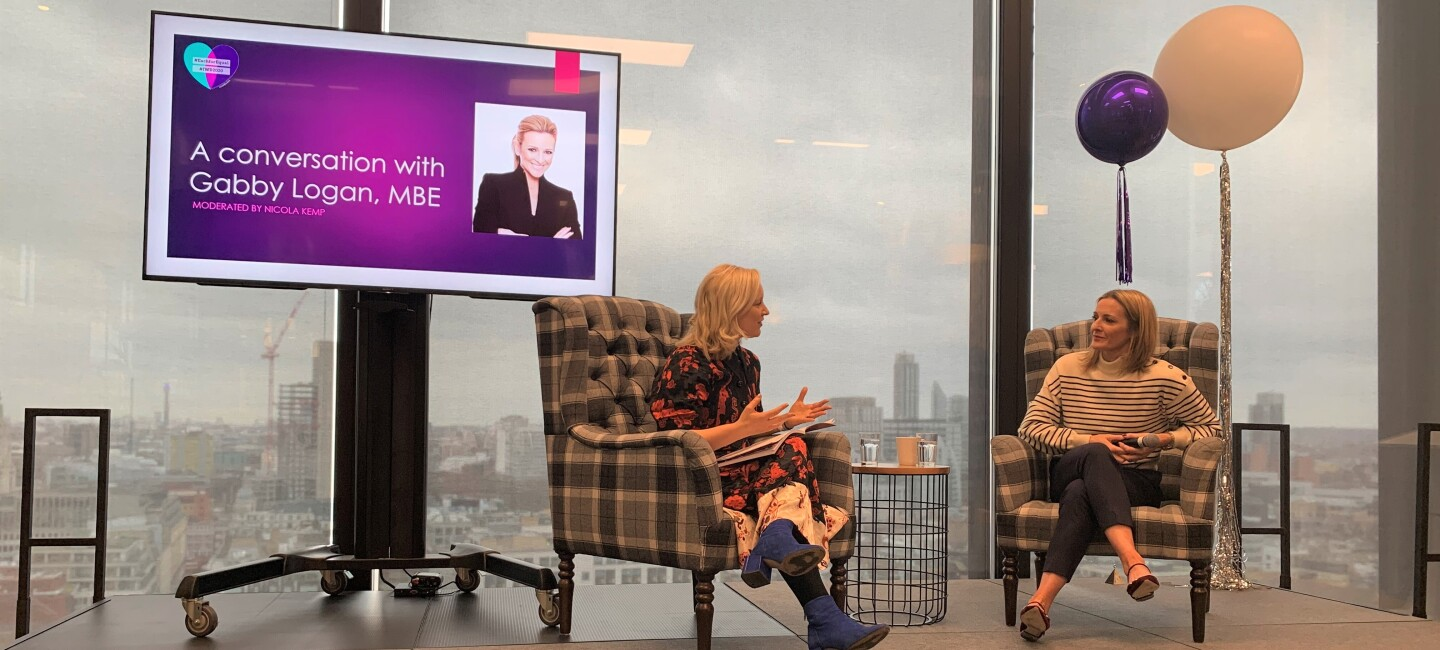 Gabby Logan discussing for IWD