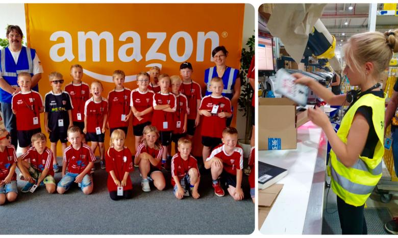 Eine Collage aus 2 Fotos: Das linke Foto zeigt ein Gruppenbild mit den kleinen Fußballern, alle in roten Trikots. Rechs ist ein blondes Mädchen mit Perdeschwanz und gelber Sicherheitsweste bei Packen im Logistikzentrum zu sehen.