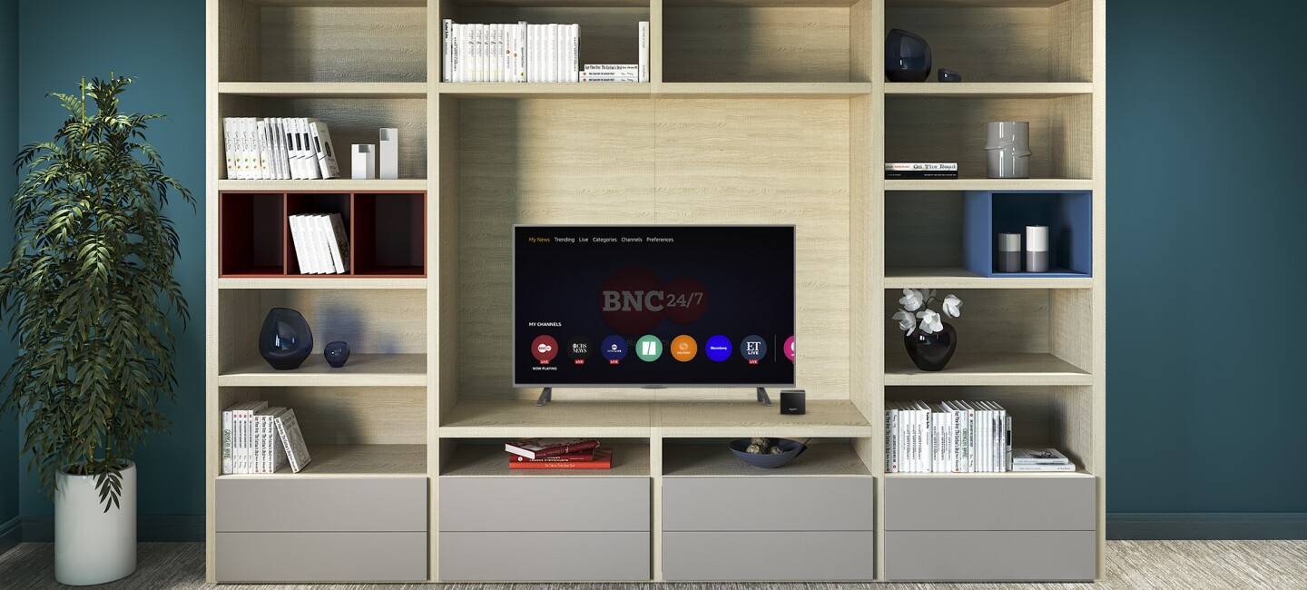 A television screen with BNC 24/7 channel highlighted on Fire TV