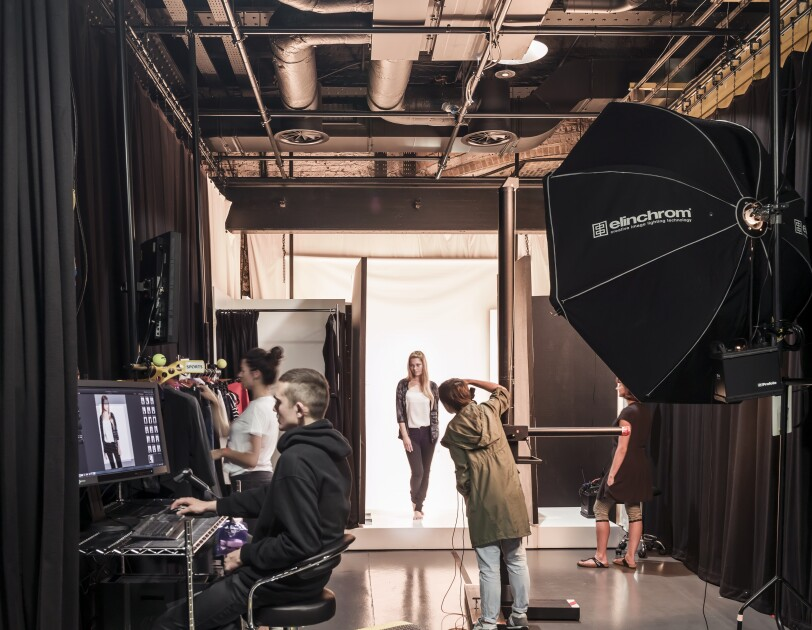 A photo shoot inside the Amazon Fashion Studio
