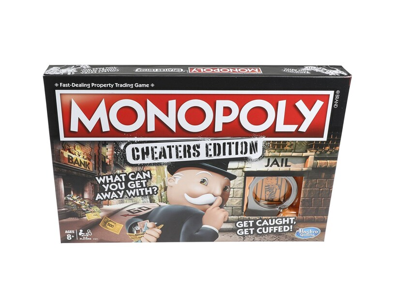 Version of Monopoly game with gameboard, plastic handcuff unit, 6 tokens, 15 Cheat cards, 22 Title Deed cards, 16 Chance cards, 16 Community Chest cards, 16 hotels, 2 dice, money pack, bank tray, and game guide