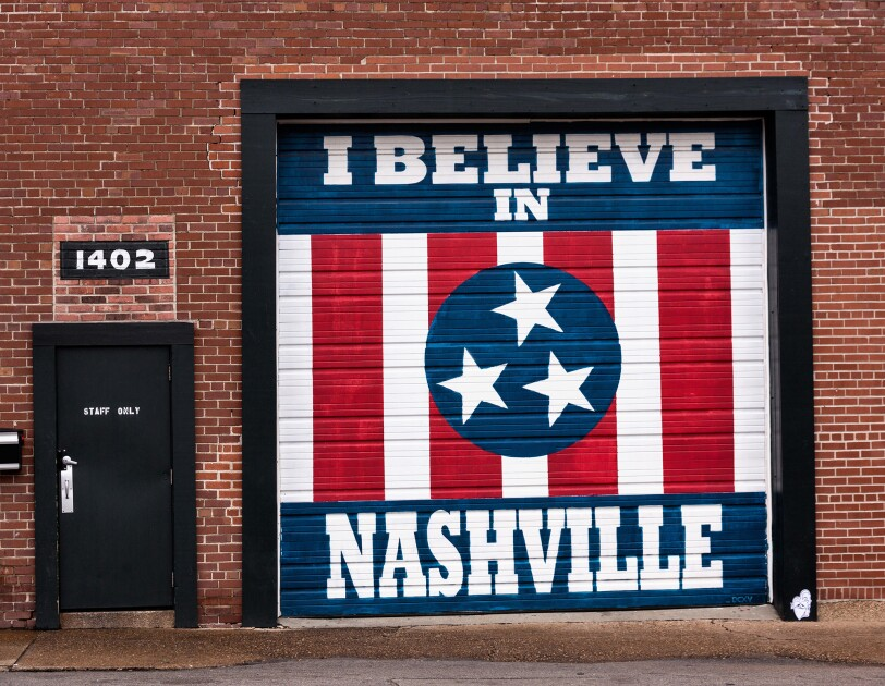 "Mural in Nashville that says ""I believe in Nashville"""