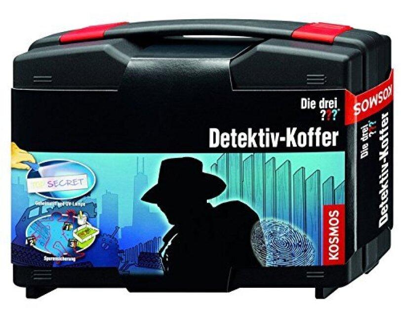 Abbildung des Drei ??? Detektivkoffers von KOSMOS, erhältlich auf Amazon.de.