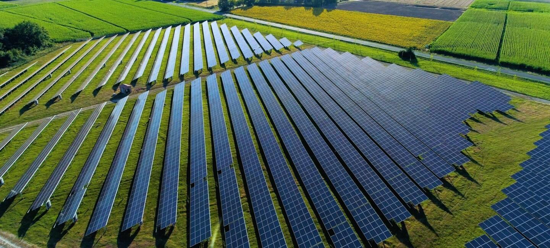 Parque solar  sobre un campo de hierba verde hay p`lacas solares en horizontal.
