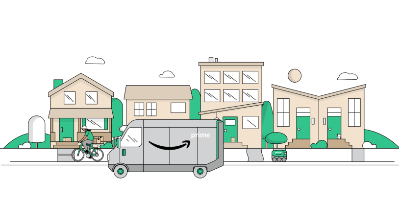 Illustration of Amazon Prime delivery vehicle in front of homes and cyclist.