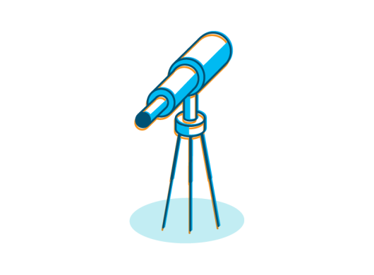 An illustration of a telescope symbolizing the financial model in Amazon's carbon footprint formula.