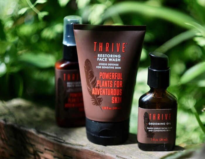 An assortment of Thrive Natural Care shave and skin-care products