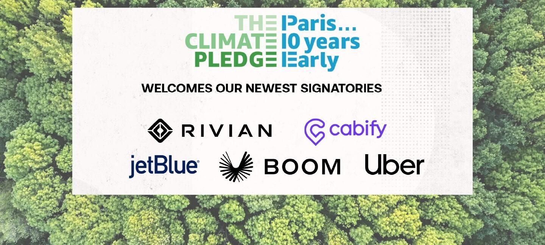 Climate pledge signatories like rivian, cabify, uber, boom and jet blue
