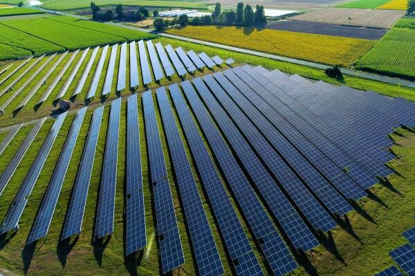 Solar panels in ariel view Amazon
