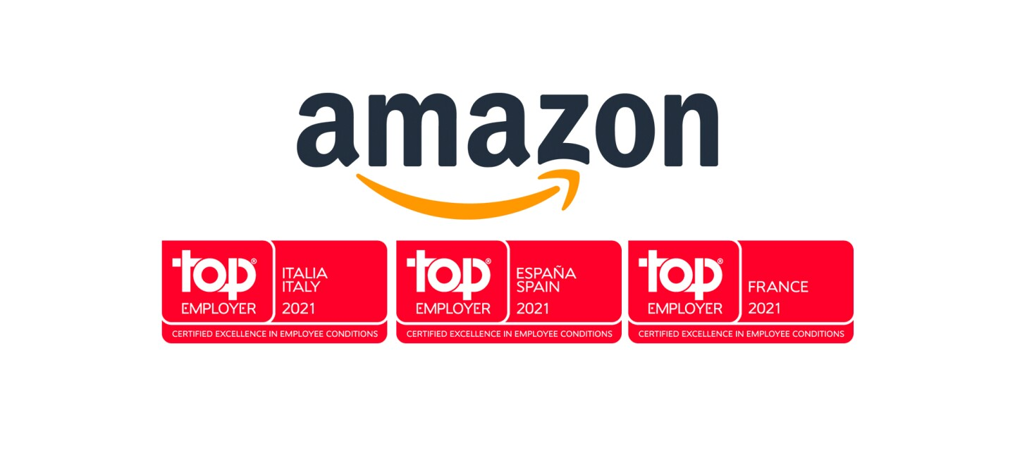 Amazon Logo with Top Employer certification seals for Italy, Spain and France.