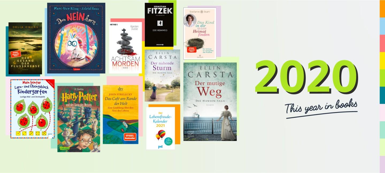 Die Grafik zeigt Buchcover von Buchtiteln aus dem Text sowie den Schriftzug This Year in Books.