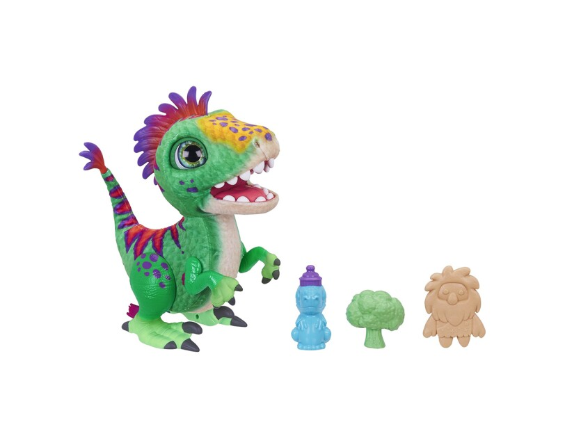 A baby dinosaur toy called furReal Munchin' Rex, that can make more than 35 sound-and-motion combinations in response to kids interacting with it.