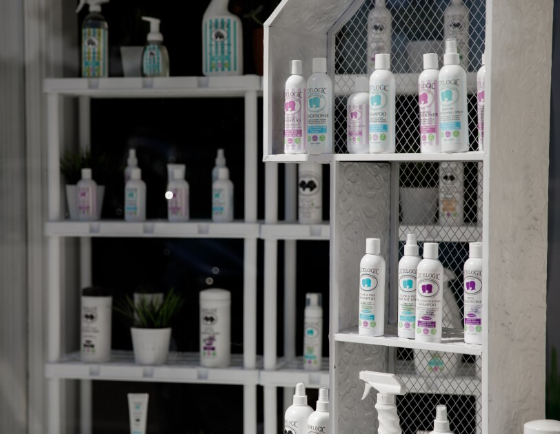 Shelves of personal care items.