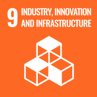 "UN SDG #9 reads ""Industry, Innovation and Infrastructure"" and features an icon of a stack of cubes."