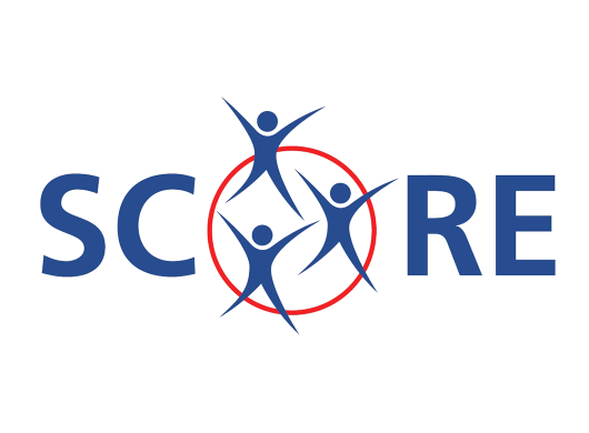 SCORE logo in blue with white background
