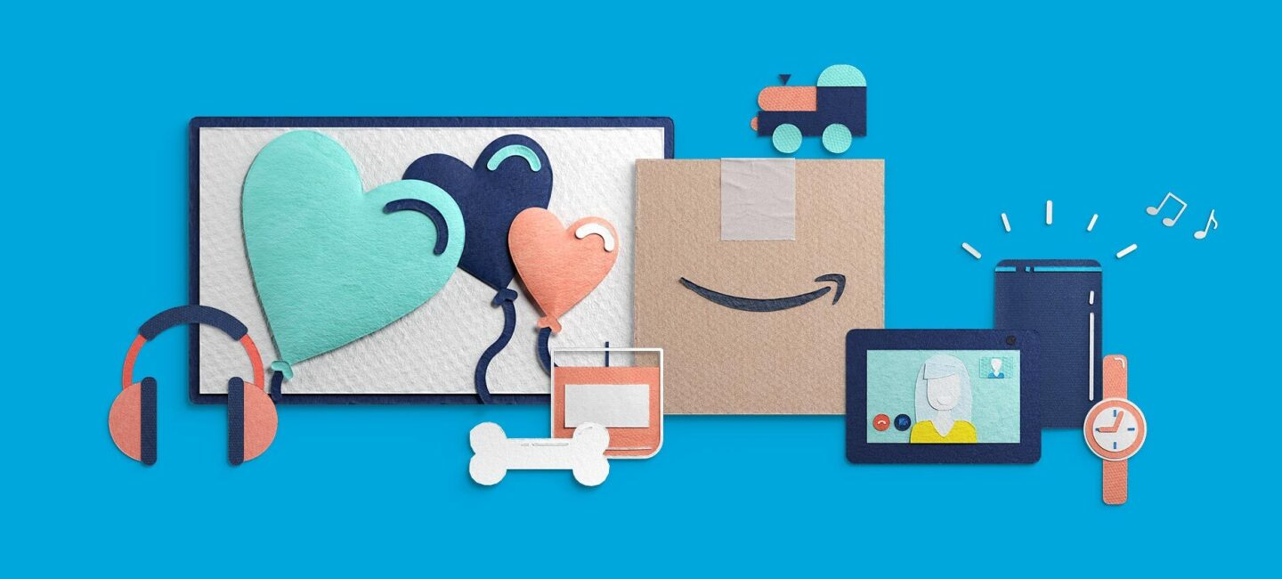 An illustration showing various products available on Amazon Prime Day.