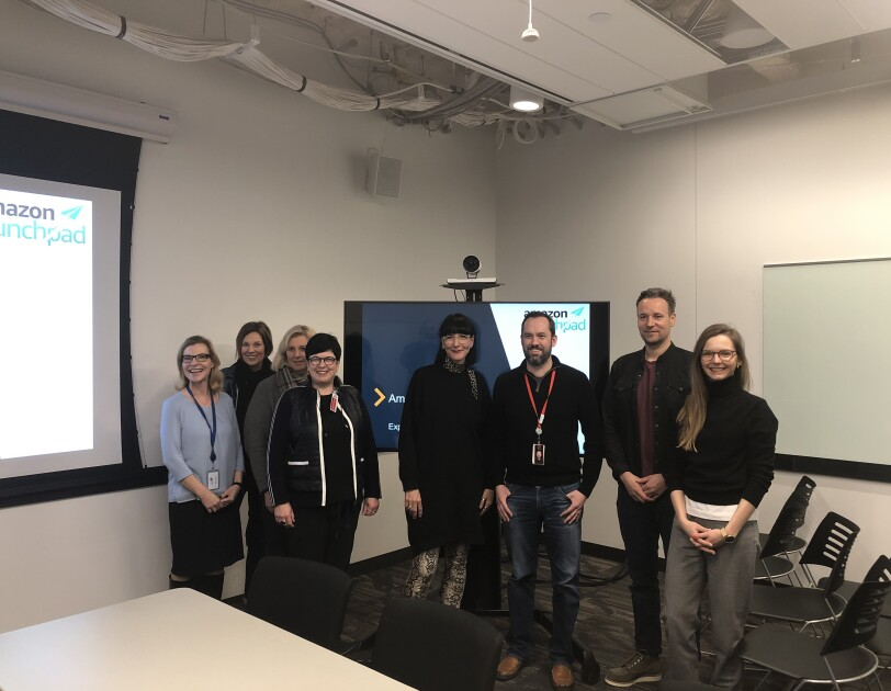 Nick Love (third from right) gave the Female Entrepreneurs of the Future an insight into the world of Amazon Launchpad.