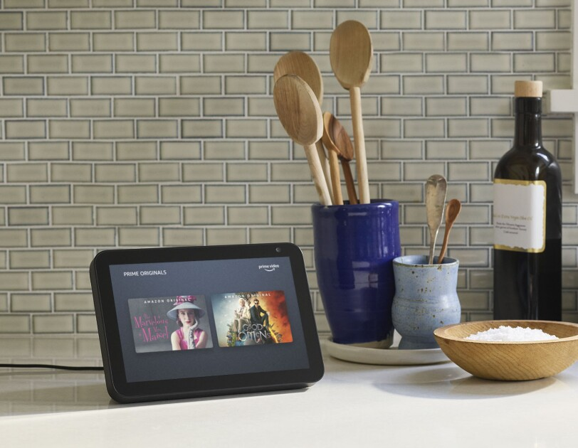 New Echo Show 8 device on a kitchen counter.