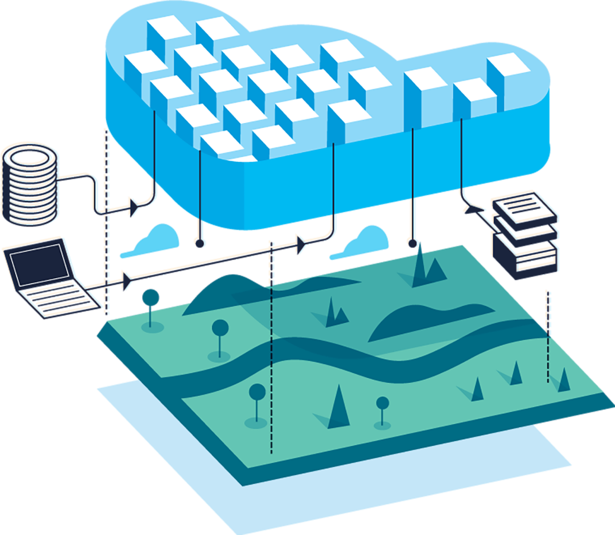 """An illustration features a cloud, green land, computer server, files and a laptop. This represents Amazon """"Sustainability in the cloud."""""""
