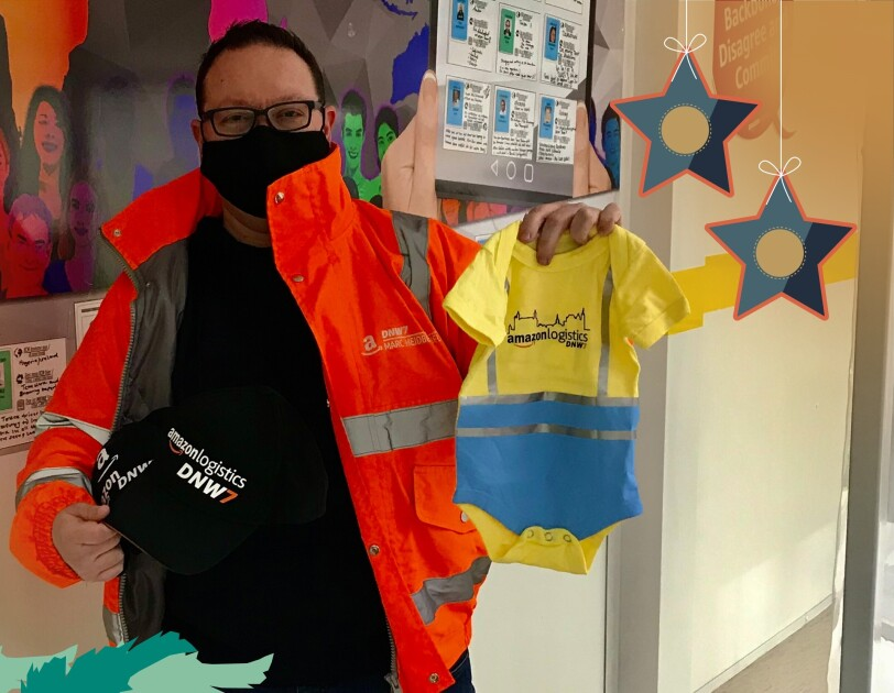 Marcs Designerstücke für seine Kolleginnen und Kollegen im Verteilzentrum Eschweiler.
