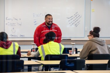 Employees in a training session at the Fall River fulfillment center