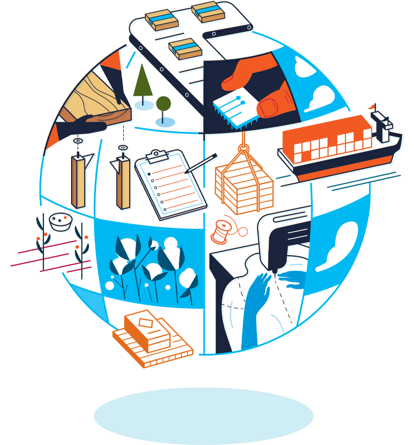 An illustration of Amazon's social responsibility features a globe containing a shipment vessel, checklist, cotton, clouds, a computer chip, packing and building materials, and hands working at a sewing machine